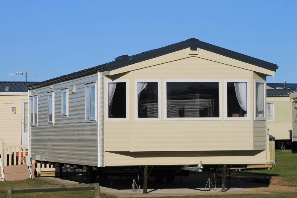 Exterior of modern mobile home on caravan park, Scarborough, England.